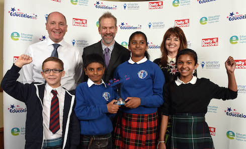 Winners of the 2015 Creative Learning Award Dalry Primary School, Edinburgh with Joan Parr, Head of Creative Learning, Creative Scotland