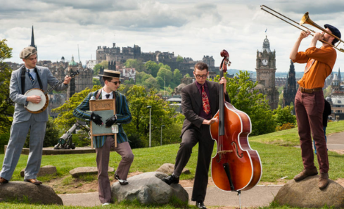 Four musicians playing in Edinburgh