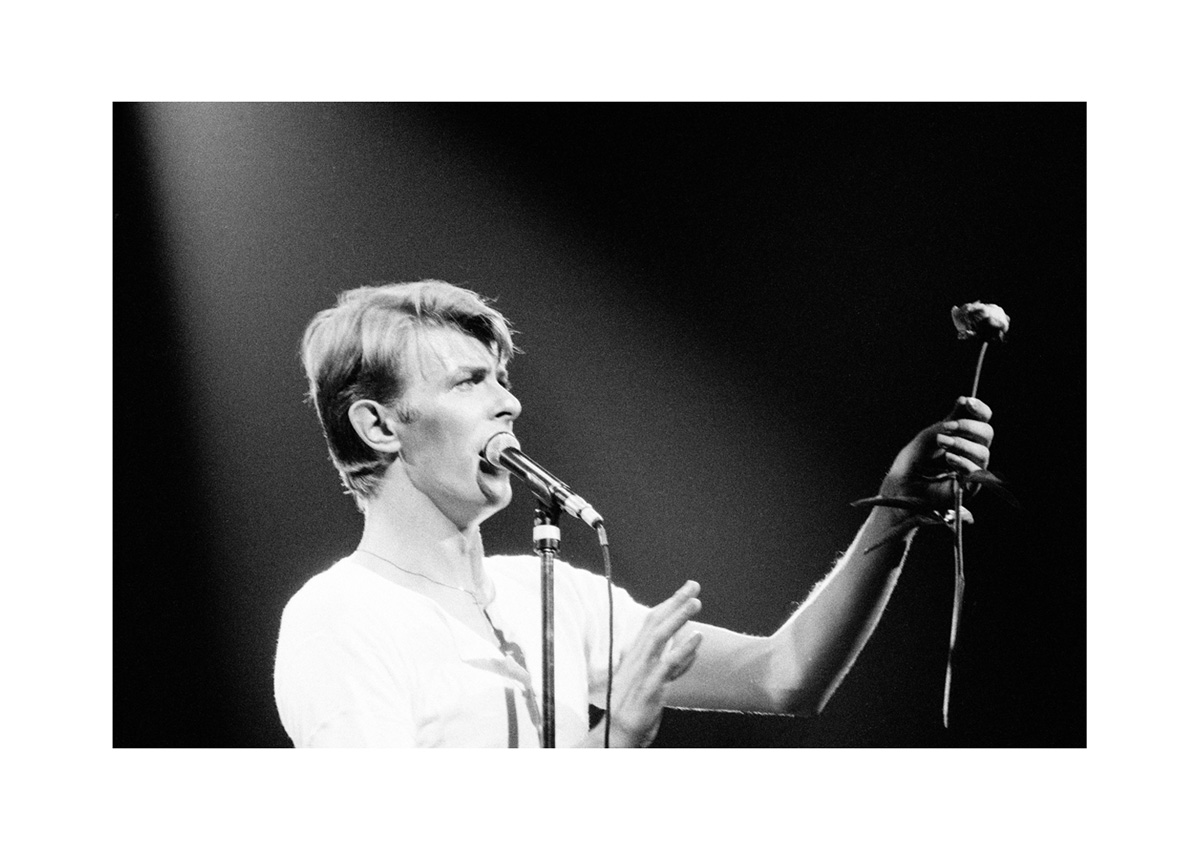 A black and white photograph of David Bowie holding a microphone