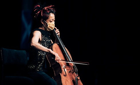 Scottish Chamber Orchestra cellist Su-a Lee performs in an empty Edinburgh Festival Theatre.