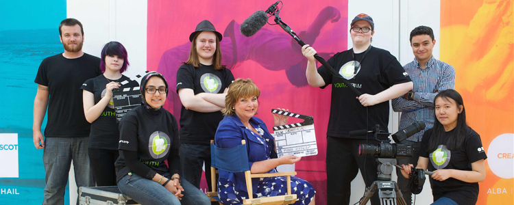 Cabinet Secretary for Culture and External Affairs Fiona Hyslop with G MAC Film and Screen Education Edinburgh representatives at Cashback for Creativity Phase 3 launch (Photo: Rob McDougall)