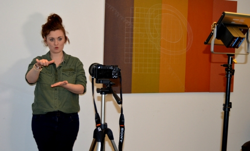 Claire Clark filming BSL videos