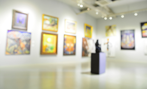 Blurred image of a modern art gallery
