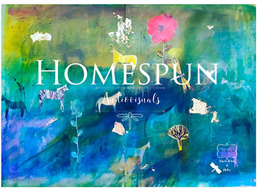 Graphic with animals and flowers on a colourful background and the title Homespun