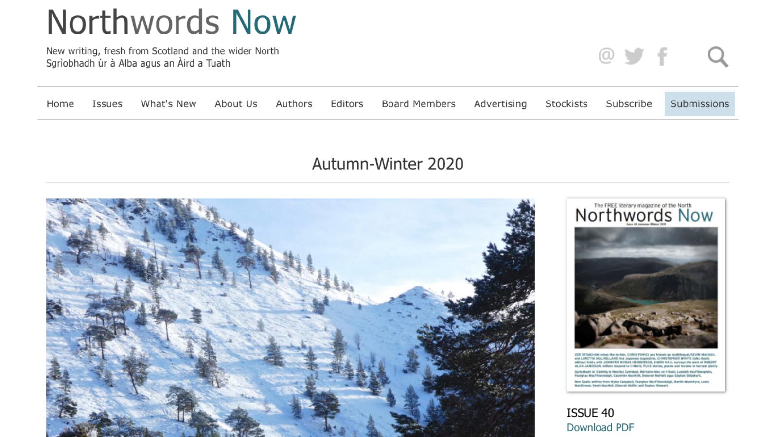 Screenshot of the Northwords Now website