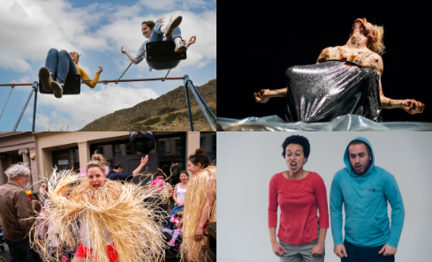 Top left: All or Nothing Aerial Dance Theatre. 'The Swings'. Credit - Suzanne Heffron  Top right: Suzi Cunningham 'Rules To Live By'. Credit - Chantal Guevara  Bottom left: Rob Heaslip. Summer Street Festival. Credit - Erika Stevenson  Bottom right: Farah Saleh. 'PAST-inuous'. Credit - Lucas Kao