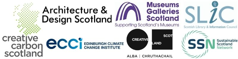 The logos of the organisations involved - Creative Carbon Scotland, Edinburgh Climate Change Institute, Architecture & Design Scotland, Museums Galleries Scotland, SLIC, SSN and Creative Scotland