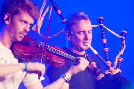 Peastbog Faeries performing at the Cambridge Folk Festival 2014. (Photo by Charles Sturman)