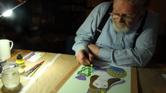 Alasdair Gray in a scene from A Life in Progress