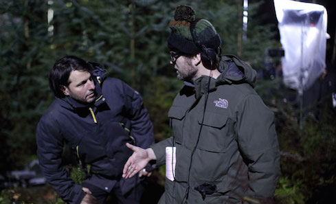 DoP Márk Györi and Writer/Producer Matt Palmer on set of Calibre. Photo: Anne Binckebanck