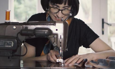 Mhairi Allan at sewing machine