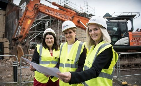 Susan Aitken, First Minister Nicola Sturgeon and April Chamberlain stand at the site of Citizens Theatre
