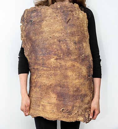 Photo of a woman with dressed in black with a large piece of bark around her