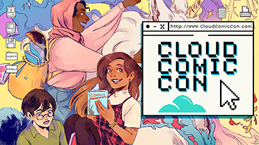 Cartoon style graphic with people and the title 'Cloud Comic Con