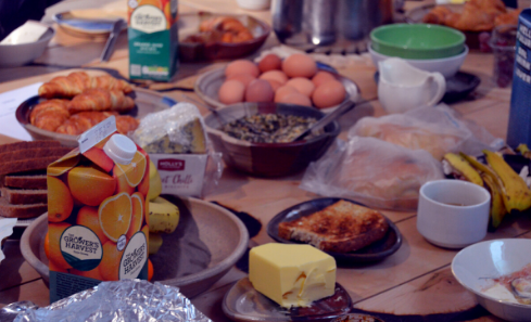 Breakfast pot-luck spread out on the table