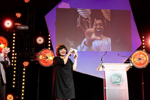 Photo of Nova Scotia virtually receiving her SAY Award