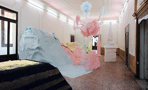2.Karla Black Installation View Palazzo Pisani 2011, Courtesy the artist and Galerie Gisela Capitain Cologne