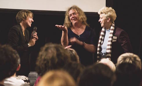Actor Jo Clifford and director Annabel Cooper accept the audience award for Best Scottish Short