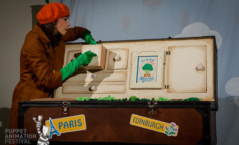 Tania and trunk - photo credit Andy Catlin, Puppet Animation Scotland