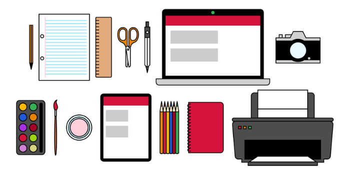 An illustration of various objects you might use to get creative, such as a printer, a camera, a laptop, pencils, pens, a notebook, paints and brushes