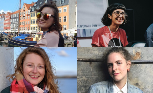 Top left - Katie Driscoll wears sunglasses next to a boat, Bottom left - Julie Farrell wears a colourful scarf in front of a blue sky, Top right - Samar Ziadat wears a red tshirt in a circle of people, Bottom right - Emily Rueggeberg wears a denim jacket and stands in front of a wooden wall