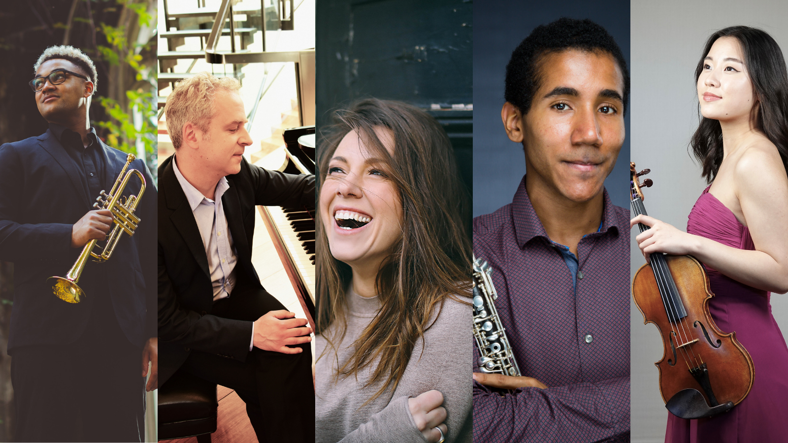 A collage of a number of musicians holding various instruments