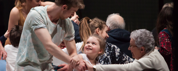 Scottish Dance Theatre's Lewis Wilkins in Innocence, a unique performance playroom where the audience explore William Blake's Songs of Innocence. (photo: Maria Falconer)