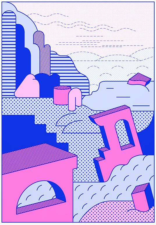 A pink and blue risograph print with large geometric shapes