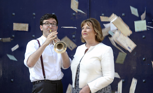 Cabinet Secretary for Culture, Tourism and External Affairs Fiona Hyslop launches the Made In Scotland programme with The Last Post performer Tom Poulson