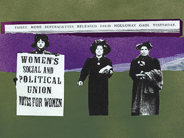"Graphic with three suffragettes and a poster saying ""Women's social and political union votes for women"""
