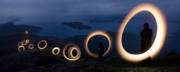A lighting test forNVA's Island Drift, exhibition to launch in Glasgow 2015 (photo: Alan McAteer)