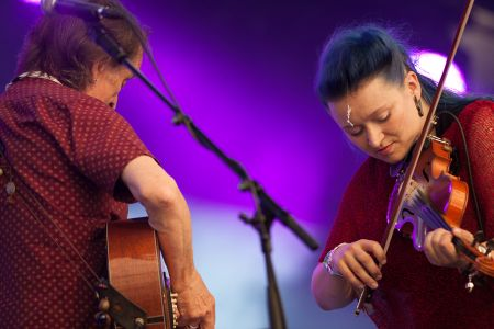 Eliza Carthy and Martin Carthy performing at the Cambridge Folk Festival 2014. (Photo by Charles Sturman)