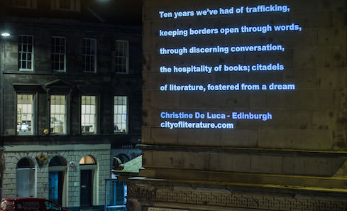 Christine De Luca's poetry will be projected onto Constitution St. Photo: Chris Scott.