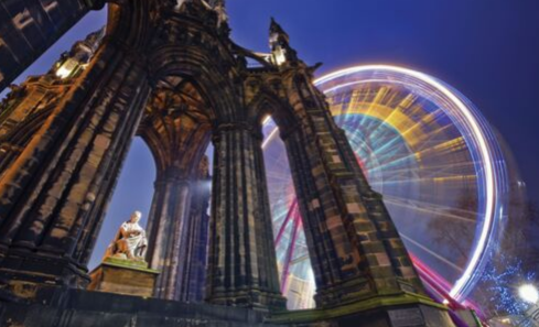 The Scott Monument and ferris wheel