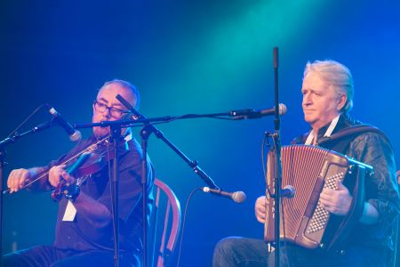 Aly Bain and Phil Cunningham performing at the Cambridge Folk Festival 2014. (Photo by Charles Sturman)