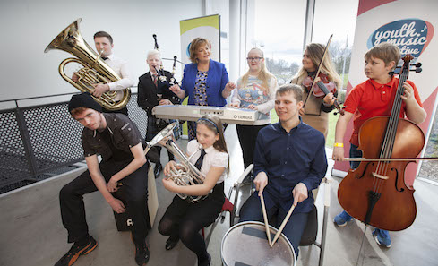 Culture Secretary Fiona Hyslop with young musicians. Photo: Drew Farrell