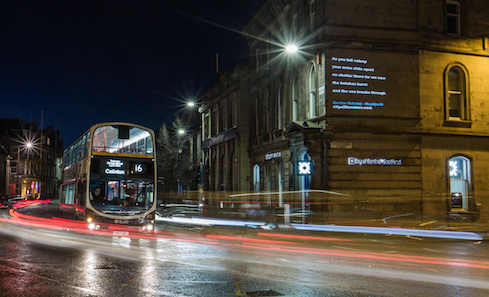 nternational poetry projections in Leith, Edinburgh - Photo by Chris Scott