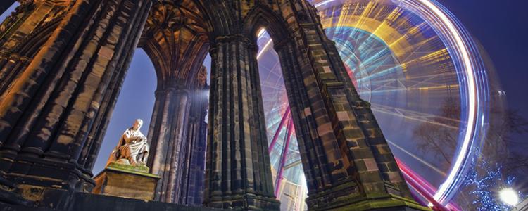 Scot Monument and ferris wheel, Edinburgh