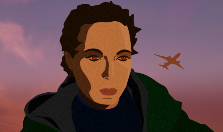 A still from an animation featuring a simple rendering of the head and shoulders of a person sitting in front of a pink sky - a plane flies across the sky