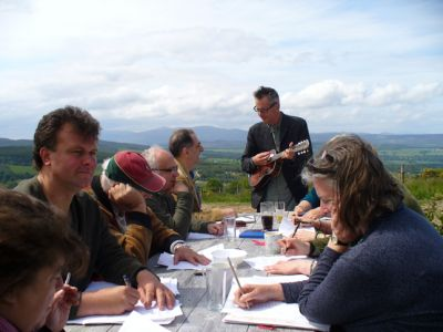 A workshop in the sun at Moniack (photo: Nancy MacDonald)