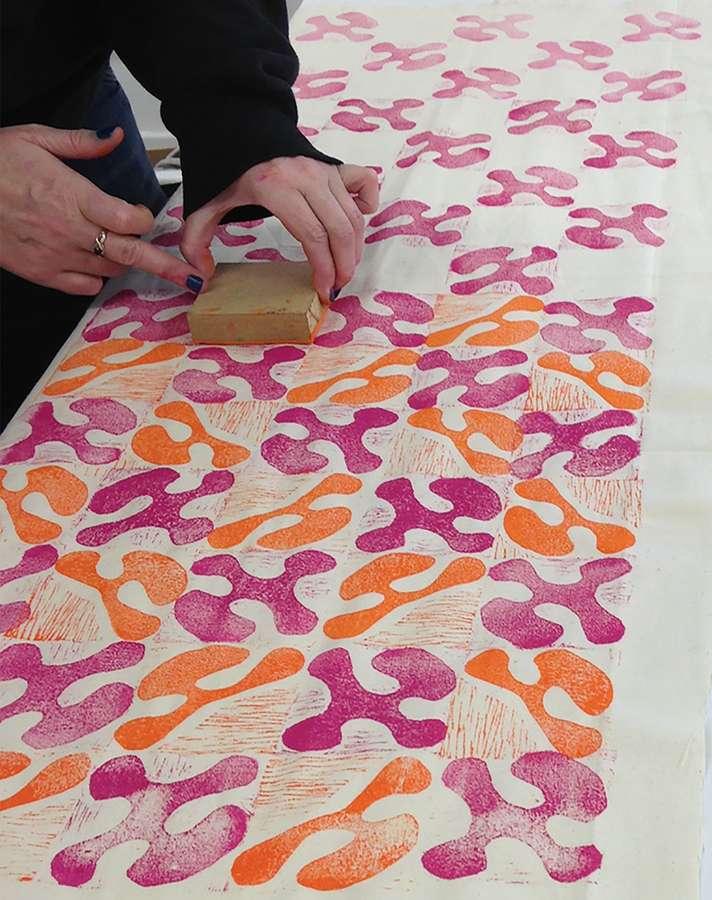 Lino printing at Dovecot