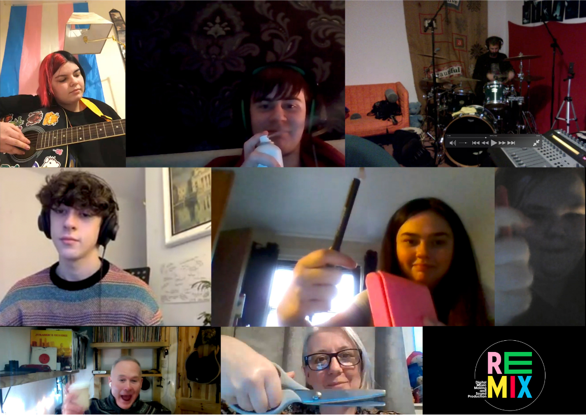 A collage of a number of participants of REMIX playing music over a Zoom call